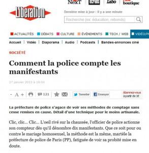 Libération publie le soir même de la manifestation du 27 janvier un article sur les méthodes « artisanales » de comptage de la police : le doute s'installe quand cela concerne les officines partisanes.